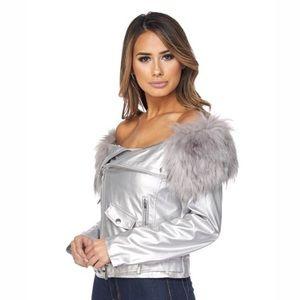 Jackets & Blazers - Metallic off the shoulder Moto jacket
